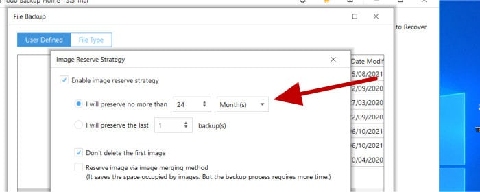 todo backup - set historic versioning settings