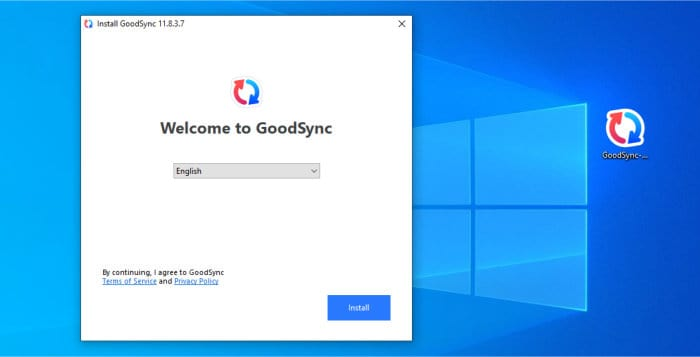 goodsync installer running