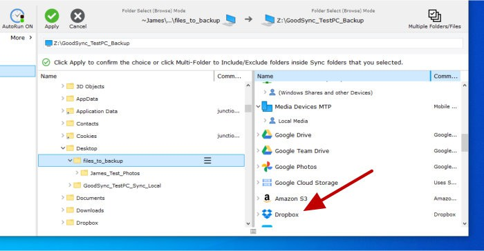 goodsync select backup files and target
